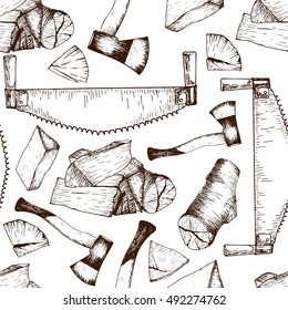 Vector seamless pattern of timber working tools. Saw, axe, firewoods. Vintage sketched engraved style. Good for package, store design. Hipster trendy Lumberjack collection.