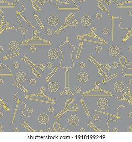 Vector seamless pattern with tools and accessories for sewing. Template for design, fabric, print. Illuminating and Ultimate Gray.