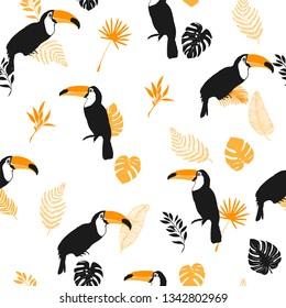 Vector seamless pattern, toucan, exotic birds, tropical flowers, palm leaves, bird of paradise