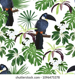 Vector seamless pattern with Toucan and tropical plants.