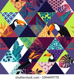 Vector seamless pattern with Toucans and tropical palm leaves. Exotic Hawaii art background is tropical trendy. Design for fabric, textile, wrapping paper and other decoration.