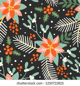 Vector seamless pattern with the traditional Christmas floral elements: mistletoe, holly, poinsettia and fir branches. The illustration in vintage style.