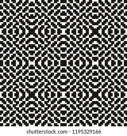 Vector seamless pattern. Traditional geometric folklore ornament. Tribal ethnic motif. Texture of embroidery, knitting, fabric, jacquard. Black and white repeatable background. Monochrome design