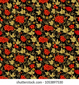 Vector seamless pattern in traditional russian khokhloma style. Seamless pattern background with rowanberry for fabrics, wallpaper, interior, wall-coverings.
