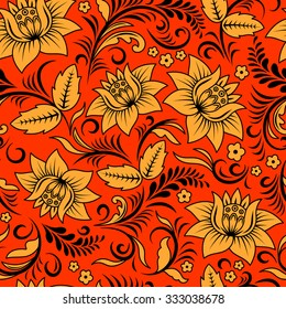 vector seamless pattern in traditional russian khokhloma style