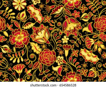 Vector seamless pattern in traditional russian Khokhloma style. Fabulous flowers on black background.