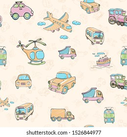Vector seamless pattern with transports. Multicolored hand drawn illustration in cartoon style.