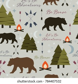 Vector seamless pattern of trees, arrows, bears, campfires and modern calligraphy. Great for woodland themed backgrounds, home decor, children's fashion, notebook covers.