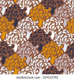 Vector seamless pattern with trees silhouettes and leafs in organic brown colors for fall winter fashion or Christmas wrapping paper. Chic, elegant, natural print with woods. Retro style wallpaper.