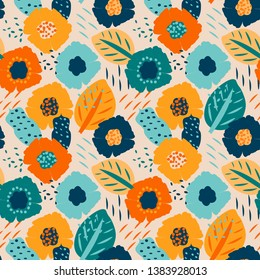 Vector seamless pattern with trendy abstract elements. Abstract floral texture. Beautiful summer pattern. Background with flowers. Abstract spring and summer design