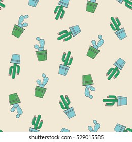Vector seamless pattern with trendy cactus print. Cactus fashion design icons background in pastel colors. Youth illustration for fabric in comic style with succulent in pots.