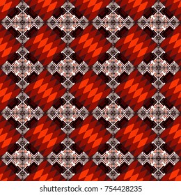 Vector seamless pattern. Trendy hipster geometry. Modern stylish texture with orange, brown and red tiles. Simple graphic design. Repeating geometric tile pattern.