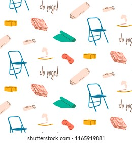 Vector seamless pattern in trendy retro style of yoga props. Set of yoga stuff. Cute background.