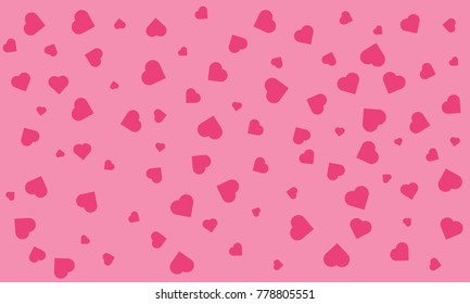 Vector seamless pattern. Trendy texture with a jumble of hearts. Abstract background with love theme. red hearts. pink hearts. Heart confetti of Valentines