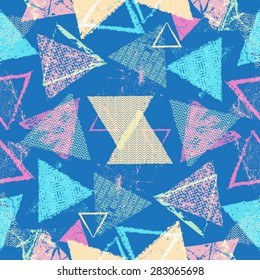 Vector Seamless Pattern .  Triangle Geometric Shapes in Grunge Style .