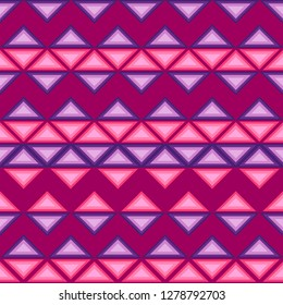 Vector seamless pattern of triangles of pink and purple hues