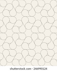 Vector seamless pattern with triple yin e yang. Modern stylish texture. Monochrome repeating abstract background. Linear regular grid