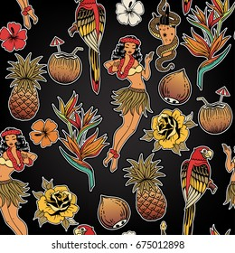 Vector seamless pattern with tropical doodles. Hawaii dancer, parrot, exotic fruits and flowers.