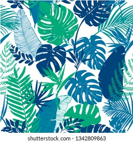 Vector seamless pattern, tropical flowers, palm leaves, monstera, silhouette background