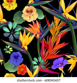 Vector seamless pattern of tropical flowers, leaves, vines: Strelitzia,  South America, Central Africa, Southeast Asia and Australia. Monsoon forests, Mangroves.For textiles