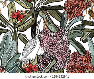 Vector Seamless Pattern Tropical Jungle Forest with Pink Blooming Flowers and Exotic Bird Crane in Indian Style Multicolor