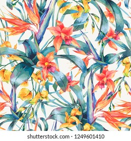 Vector seamless pattern of tropical leaves, vintage floral tropical natural elements. Exotic flowers, twigs and leaves. Botanical background