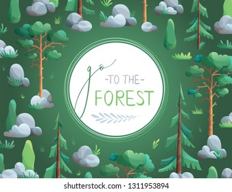 Vector seamless pattern of tropical leaves. Go to the forest. Coniferous trees and bushes are on dark background. Pines, spruces, cypress, stones and grass. Flat vector background with grain texture.