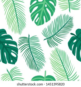 Vector seamless pattern with tropical leaves. Exotic plants:monstera, banana, palm. Perfect for background, Wallpaper, textile and wrapping paper. hand-drawn flat illustration
