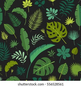 Vector seamless pattern with tropical leaves on black background