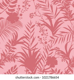 Vector seamless pattern tropical monotone forest leaves on pink