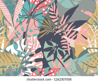 Vector seamless pattern with tropical plants and hand drawn abstract textures. Colorful endless background