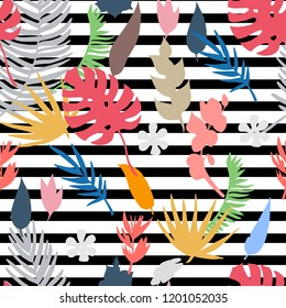 Vector seamless pattern with tropical,exotic plants,flovers,leaves,palm,monstera brunch on ablack and white striped background.Abstract endless colorful texture  with plants.