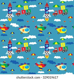 Vector seamless pattern with the truck, helicopters, rocket, aircraft, cubes, clouds on a dark blue background
