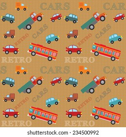 Vector seamless pattern trucks, buses and cars in retro style on a geometric background with inscriptions.
