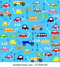 Vector seamless pattern trucks, buses and cars in retro style on a light green background with strips