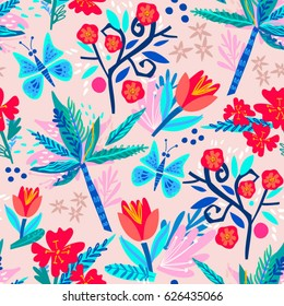 Vector seamless pattern of tulips and tropical flowers.