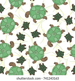 Vector seamless pattern with turtles. Hand-drawn winter illustration. Vector.