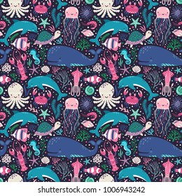 Vector seamless pattern with underwater animals: octopus, whale, turtle, dolpin, jellyfish, crab, lobster, seahorse, squid, clownfish, butterflyfish. Repeated texture with cartoon characters.