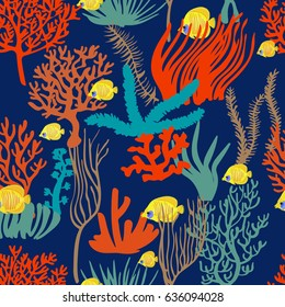a vector seamless pattern; underwater plants; repeated fish, corals, algae and seeweed; deep blue ocean background