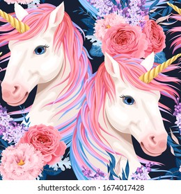 Vector seamless pattern with unicorn and flowers