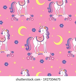 Vector seamless pattern with unicorns. Background picture with a mythical animal in cartoon children's style.