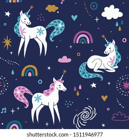 Vector seamless pattern with unicorns, rainbow, cloud, stars and sparkles. Cute childish repeated texture with fairytale animals. Cartoon unicorns. Template for kids fabric.