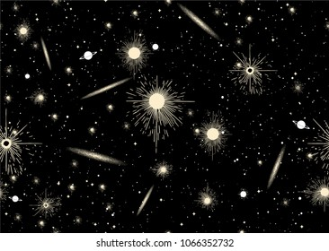Vector seamless pattern of universe with galaxies, stars, comets, black holes on black background sky.