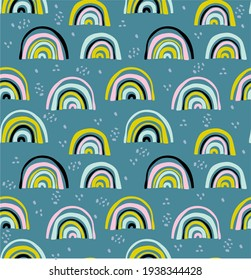 Vector seamless pattern with unusual rainbows drawn by children's hands. Trendy and fashionable print for boys and girls. Illustration for envelopes, textiles, notebooks, and holidays.