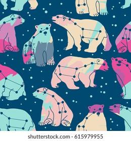 Vector seamless pattern with ursa major and polar bears