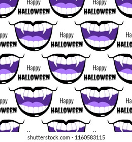 Vector seamless pattern with vampire violet grin with text happy halloween isolated on the white background.