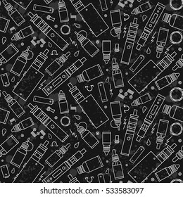 Vector seamless pattern for vape shop and vapor bar, e-cigarette and e-liquid store, texture grunge background. For website construction, mobile applications, banners, corporate brochures, layouts