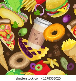 Vector seamless pattern with varied fast food. Against the background of dark brown color with fast food ingredients