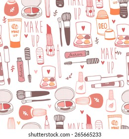 Vector seamless pattern with a variety of cosmetic products