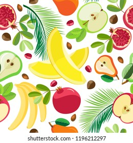 Vector seamless pattern. A variety of fresh fruits and halves of fruit. On a white background
